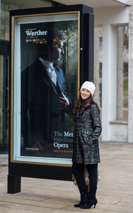 Lisette Oropesa standing in front of the Metropolitan Opera before Werther