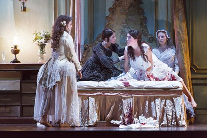 Lisette Oropesa, Sacha Plaige, Rachel Lloyd and Sarah Northgraves in Lucia di Lammermoor at the Roya