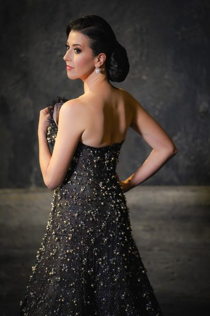 Lisette Oropesa poses in an original Giorgio Armani Privé gown.