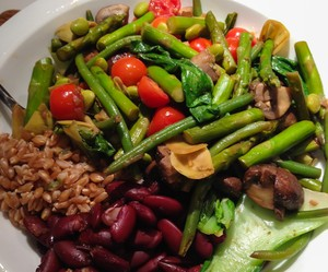 Asparagus, Cremini, Tomato stir fry by Lisette Oropesa (With barley and red beans), inspired by Giada di Laurentiis