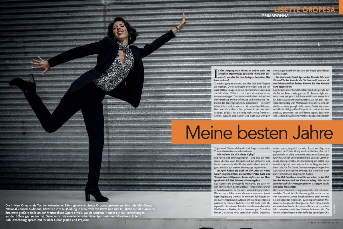 Lisette is interviewed in Das Opernglas Magazine, July 2020