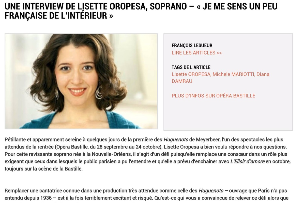 Lisette Oropesa interviewed in Concert Classic