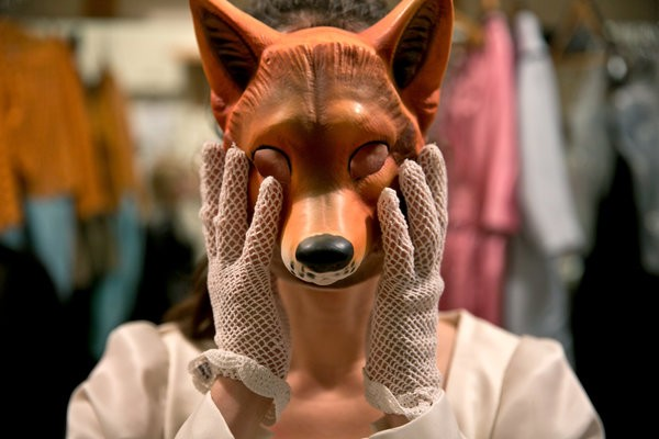 "Ms. Oropesa modeling a mask for her role in the Met's ""Falstaff."" Credit: Todd Heisler/The New York Times"