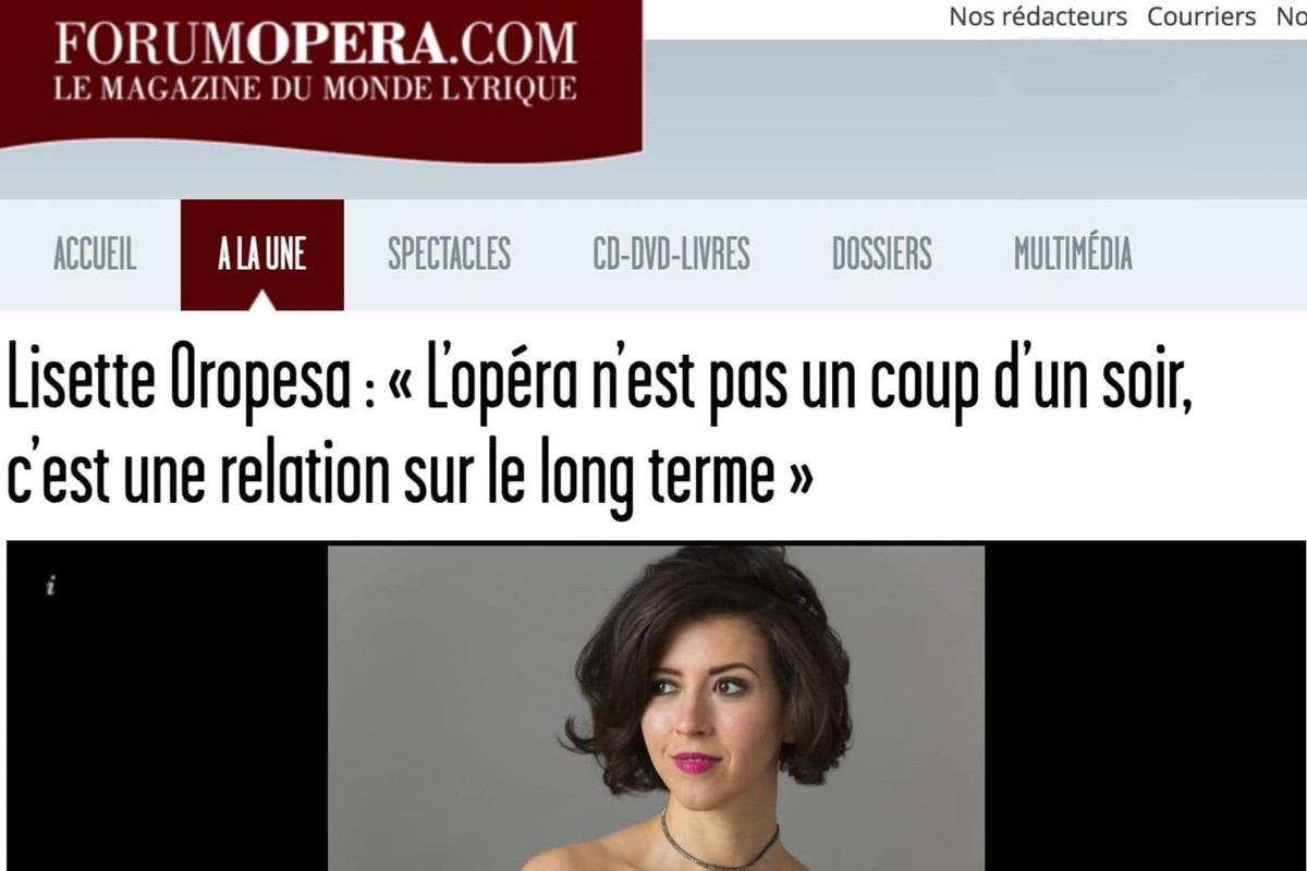 Lisette Oropesa interviewed in Forum Opera