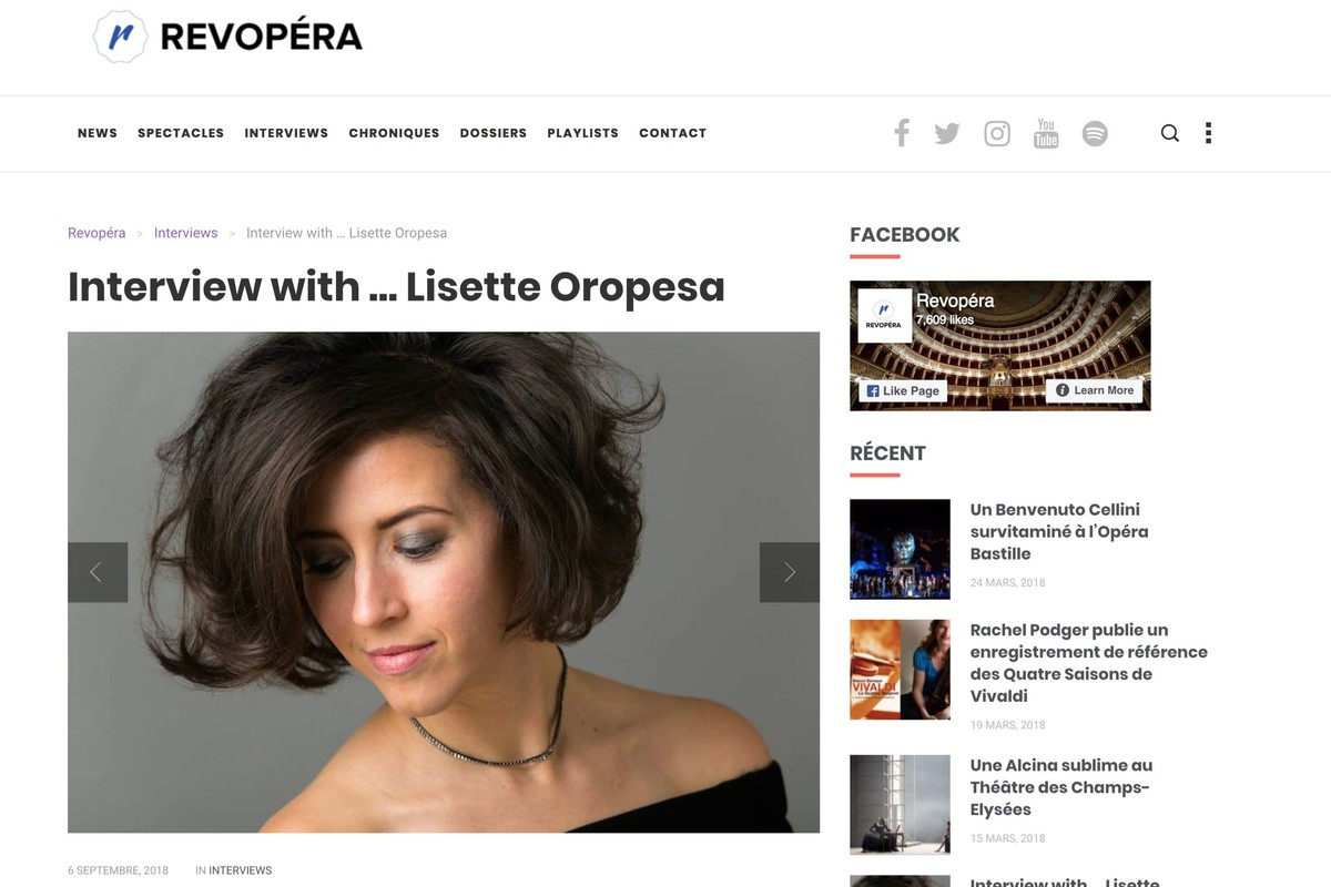 Lisette Oropesa interviewed in Rev Opera