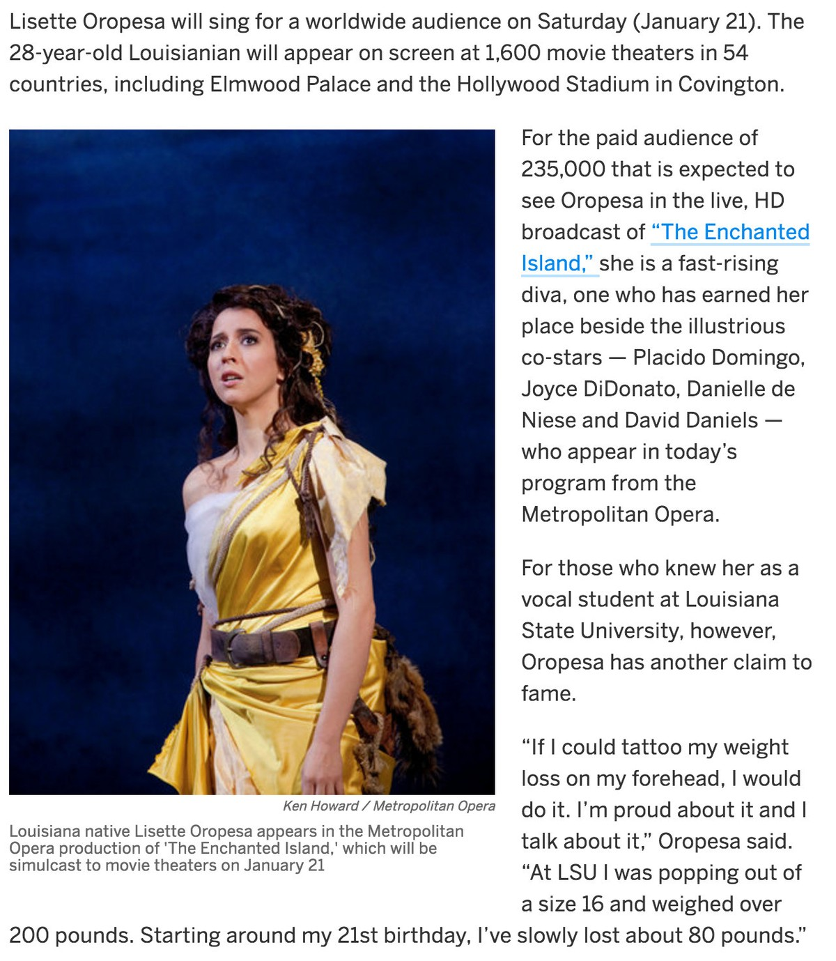 Lisette Oropesa in the Times-Picayune
