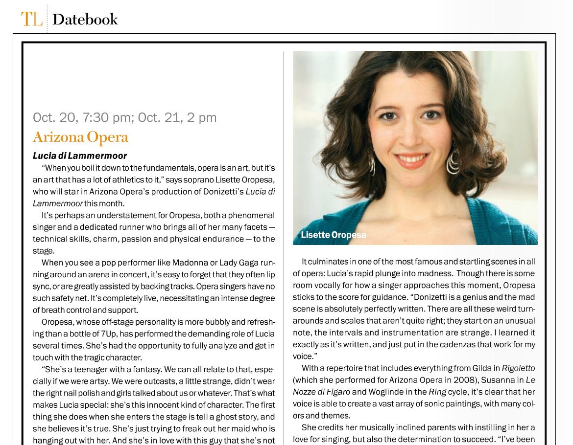 Lisette Oropesa in the October 2012 issue of Tuscon Lifestyle Magazine
