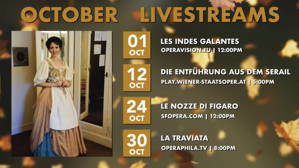 Opera live streams for October featuring Lisette Oropesa