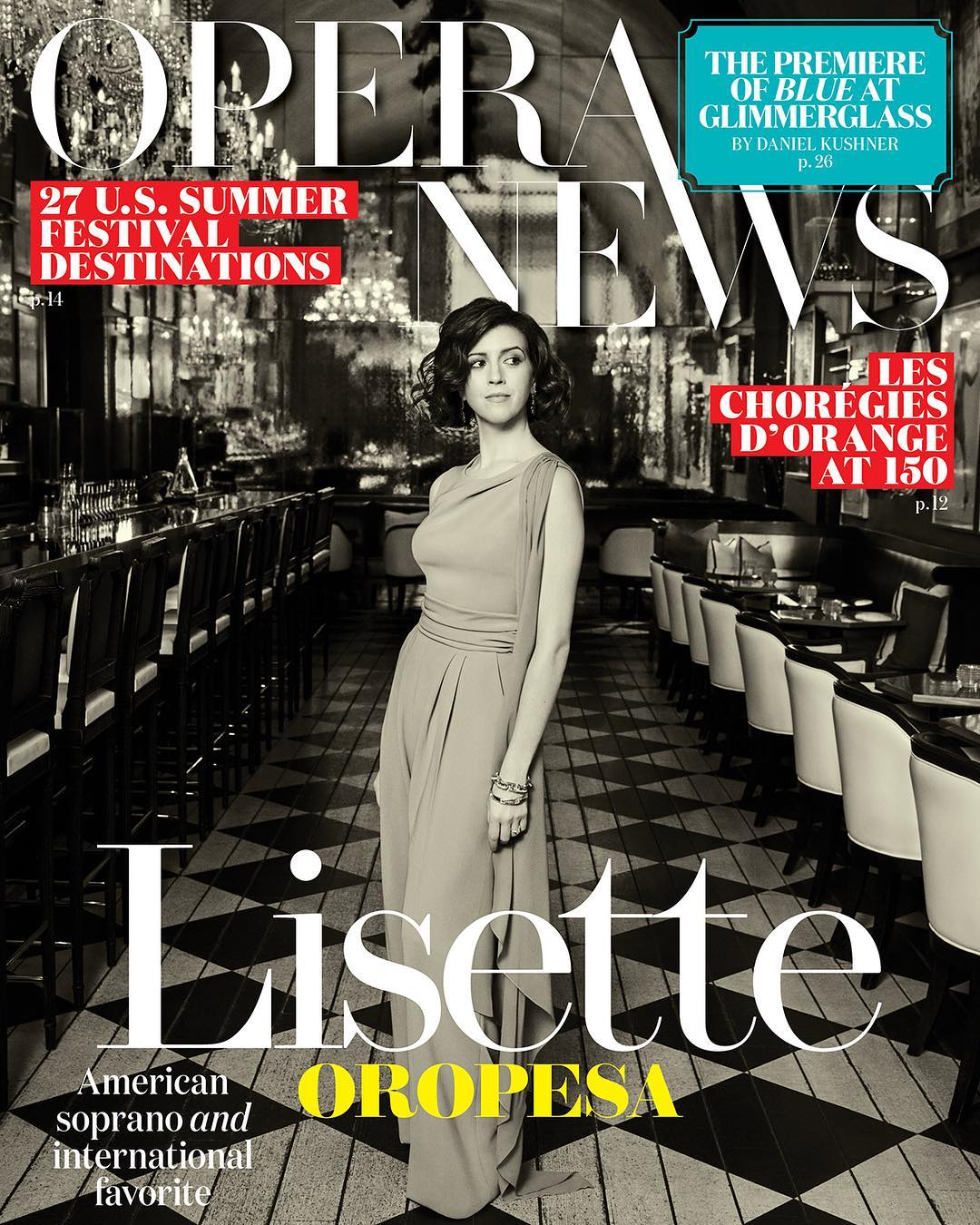 Lisette Oropesa is featured in Opera News, June 2019