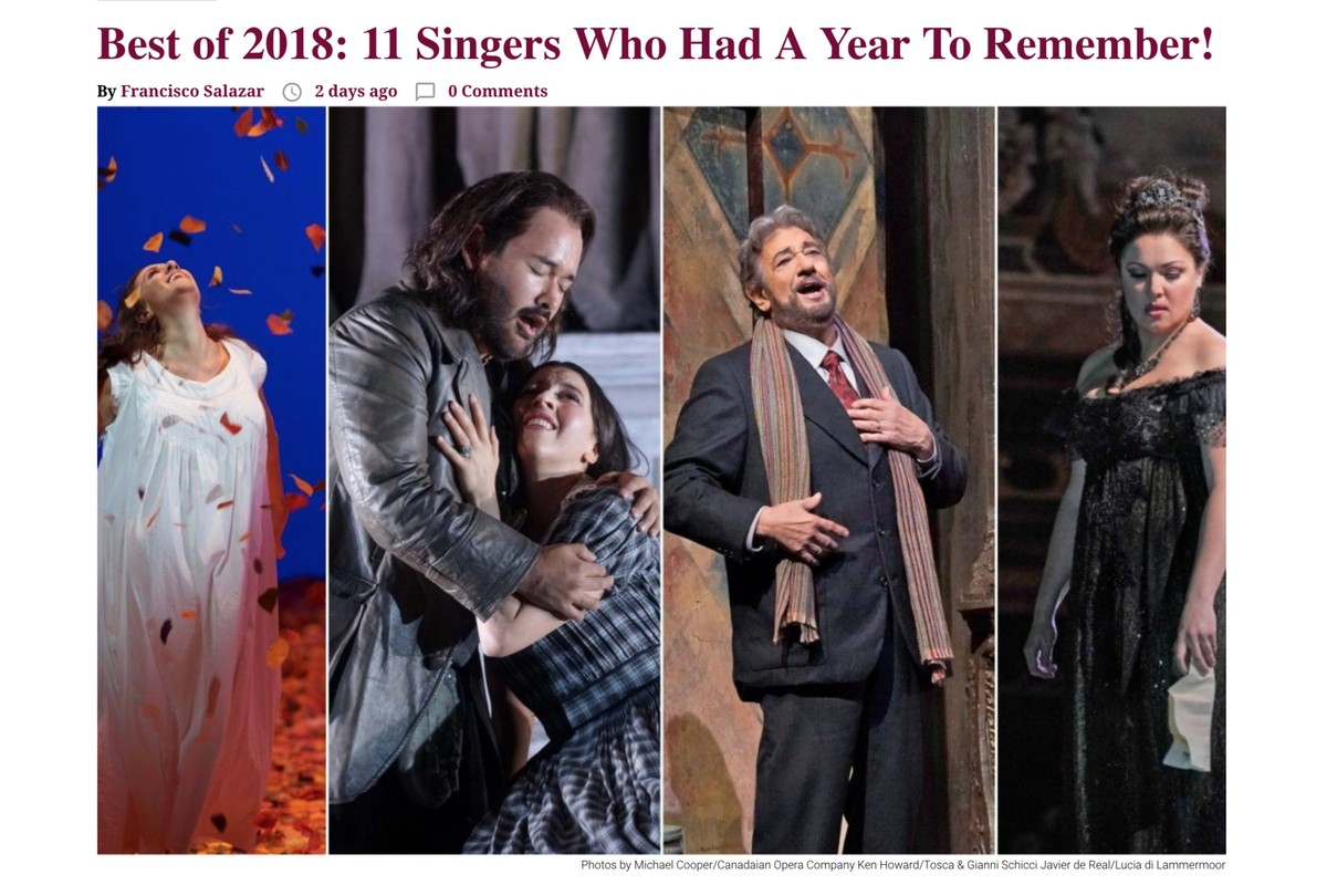 OperaWire gives Lisette the #1 position on singers who had a year to remember for 2018!
